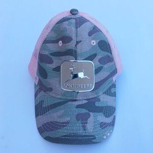 Women's John Deere pink and cammo snap back cap